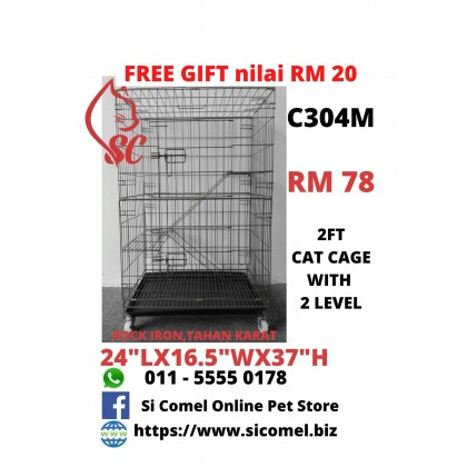 "Cat Cage- 2FT With 2 Level Rock Iron 24""Lx16.5""Wx37""H + FreeGift Nilai RM20 [READY STOCK]"