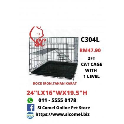 """Cat Cage- 2FT With 1 Level Rock Iron 24""""Lx16""""Wx19.5""""H Sangkar Kucing Murah"""