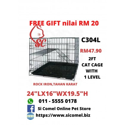 "Cat Cage- 2FT With 1 Level Rock Iron 24""Lx16""Wx19.5""H + FreeGift Nilai RM20 [READY STOCK]"