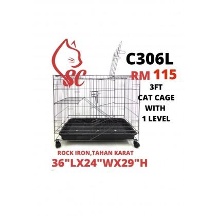 "Cat Cage- 3FT with 1 Level Rock Iron 36""Lx24""Wx29""H Sangkar Kucing Murah Offer"