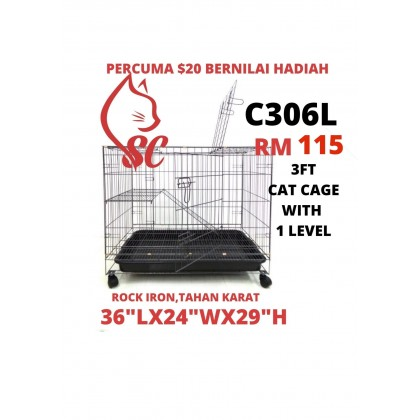 "Cat Cage- 3FT with 1 Level Rock Iron 36""Lx24""Wx29""H + FreeGift Nilai RM20"