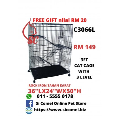 "Cat Cage- 3FT With 3 Level Rock Iron 36""Lx24""Wx50""H + FreeGift Nilai RM20 [READY STOCK]"
