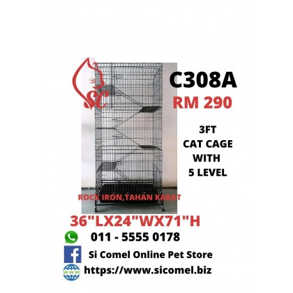 """Cat Cage- 3FT With 5 Level Rock Iron 36""""Lx24""""Wx71""""H [READY STOCK]"""